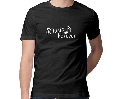 Music Forever  Men Round Neck Tshirt