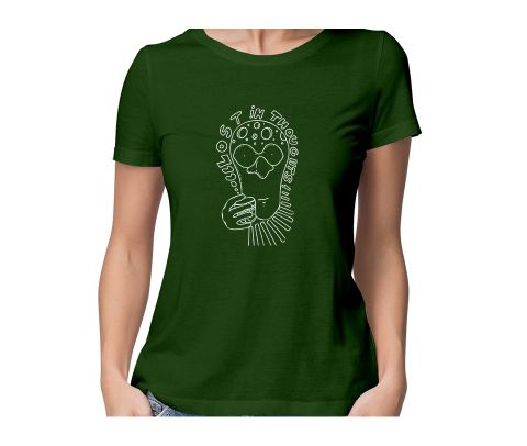 Lost in Thoughts  round neck half sleeve tshirt for women