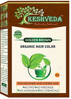 Keshveda Organic Hair Color Golden Brown (Pack Of 3)