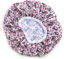 Basicare Pvc Shower Cap With Grey And Red Pattern (Pack Of 4)