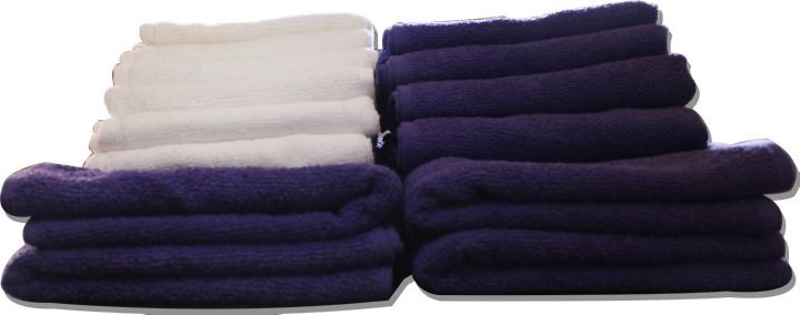 Flash Fabriks Combo Pack of Hand Towels (White and Purple) - 48 Pieces