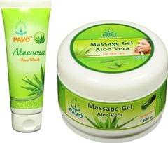 Pavo Aloe Vera Face Wash  & Massage Gel Combo, 275Gm