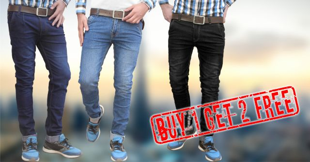 London looks mens fashion strech denim jeans BUY ONE GET TWO FREE