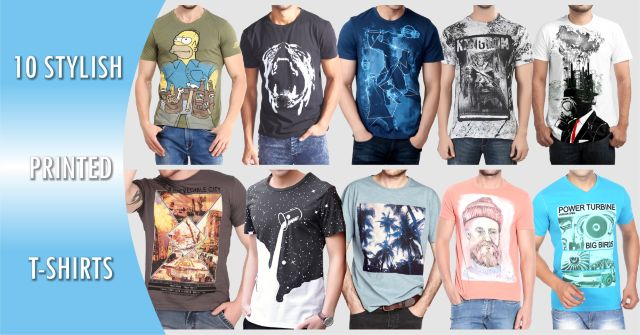 Combo of 10 stylish printed t-shirts