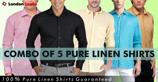 London Looks Solid Pure Linen Shirts Set Of 5 !!