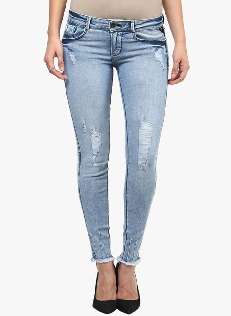 London Looks Light Blue Washed Mid Rise Skinny Jeans