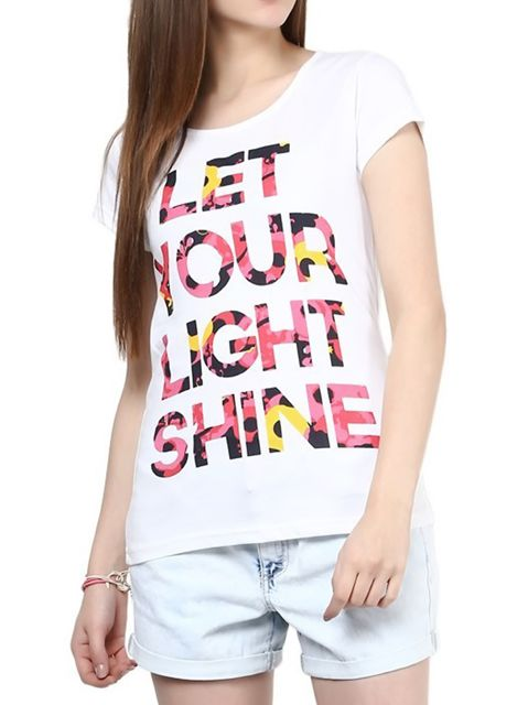 London Looks Women's White Printed T-Shirt Top