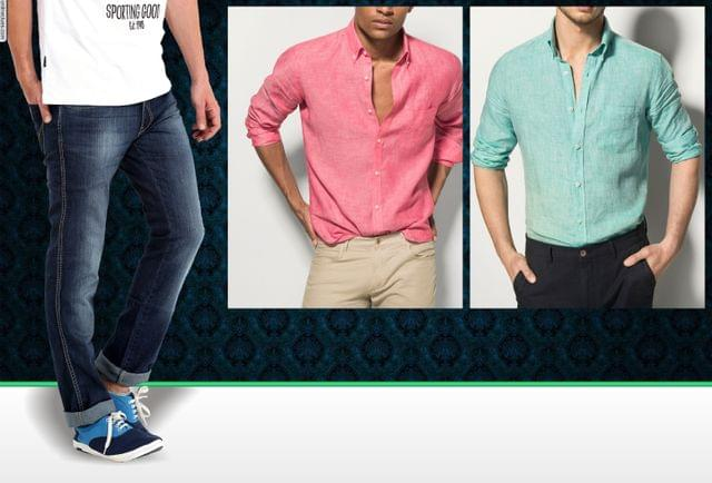 London Looks Combo Offer Buy 1 Jean & Get 2 Pure Linen Shirts Free!!