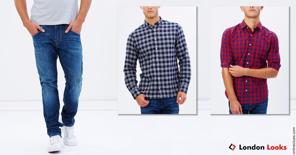 London Looks Combo Offer Buy 2 Check Shirts & Get 1 Denim Jeans Free