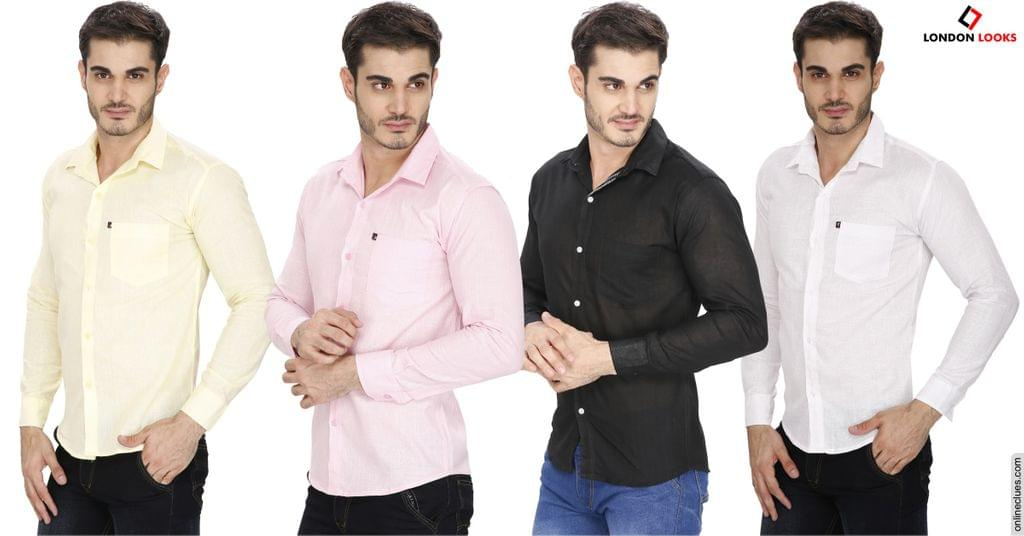 "London Looks 4 Pure Linen Shirts ""COMBO"" Offer!"