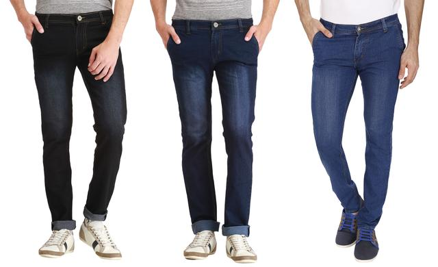 London Looks 3 Slim Fit Washed Denim Jeans