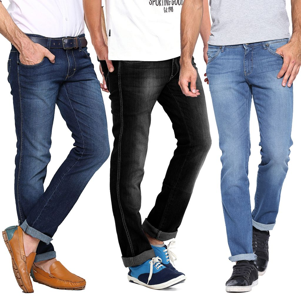Set Of 3 Branded High Quality Washed Denim Jeans