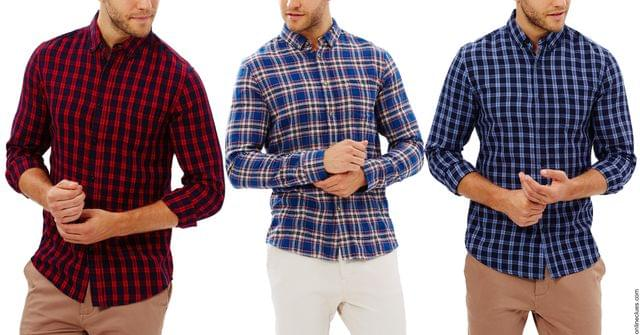 London Looks 3 Multi Colour Cotton Blend Checks Shirts