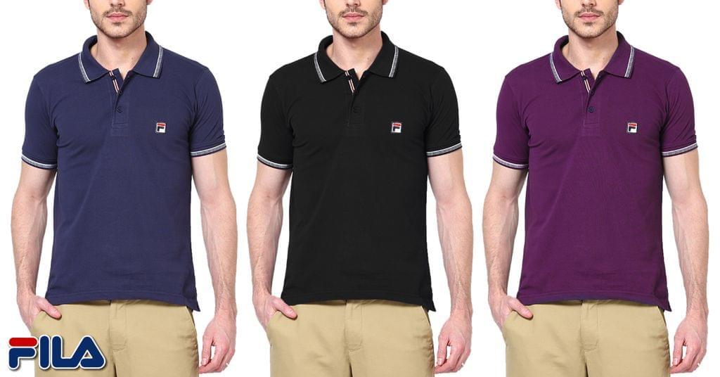 FILA Men's Soild Polo  T-shirt (Pack Of 3)