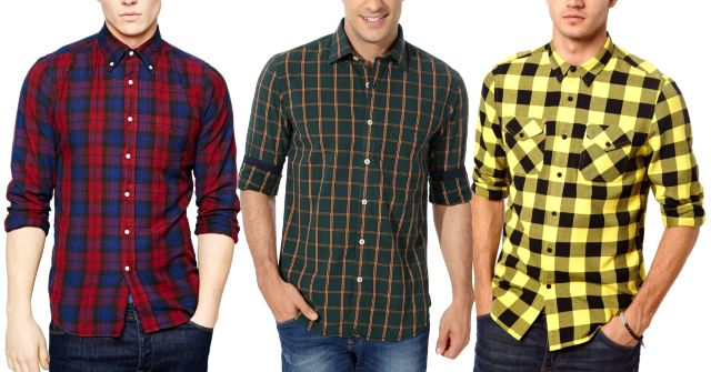 LONDON LOOKS Branded Casual Check Shirts (Set Of 3)