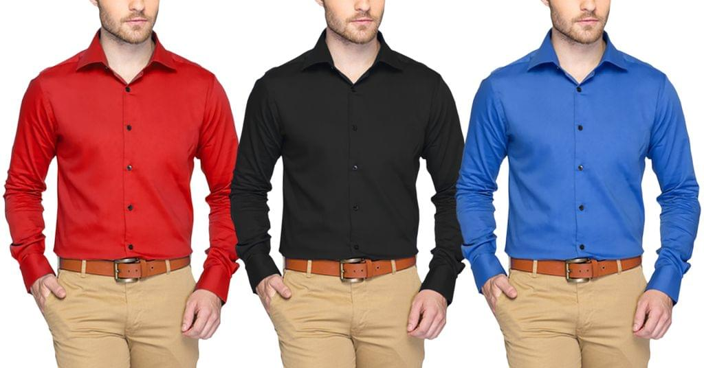 LONDON LOOKS Set Of 3 Coloured Shirts !