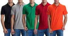 LONDON LOOKS Coloured Polo T-shirt ( Set Of 5 )