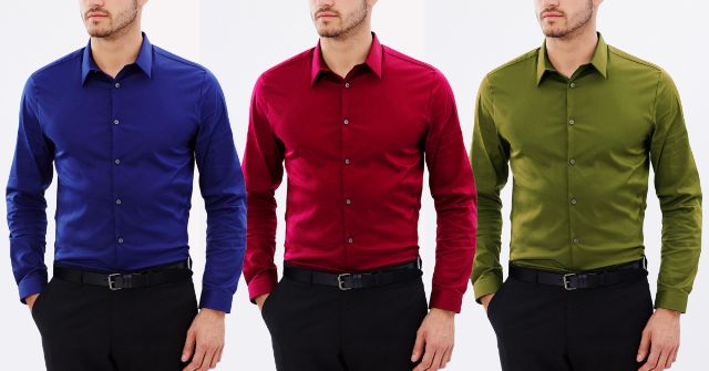 LONDON LOOKS Branded Solid Shirts (Set Of 3)