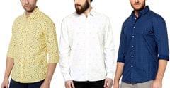 London Looks 3 Men's Printed Cotton Shirts !