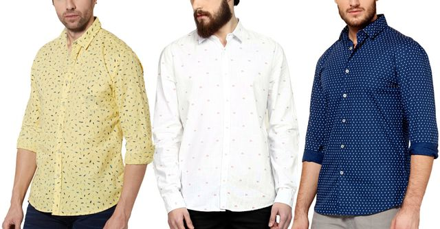 London Looks 3 Men's Printed Cotton Shirts !