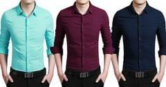 LONDON LOOKS Men's 3 Solid Cotton Shirts !
