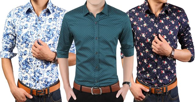 London Looks Men's 3 Tailored-Fit Printed Casual Shirts!