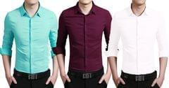 London Looks Men's 3 Regular Casual Solid Shirts !