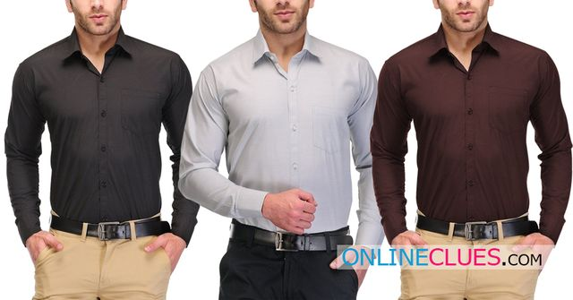 London Looks Men's 3 Solid Casual Shirts !