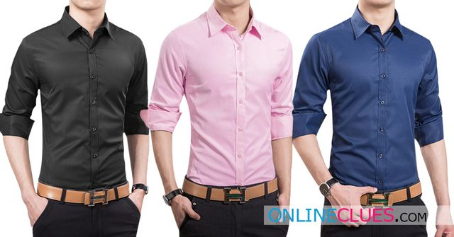 LONDON LOOKS Men's 3 Solid Cotton Casual Shirts!
