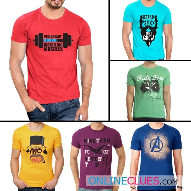 London Looks Men's 6 Round Neck Cotton Printed T-Shirts !