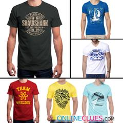 London Looks 6 Men's Round-Neck Printed T-Shirts !