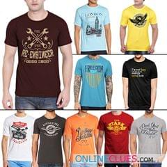 London Looks 10 Men's Round Neck Cotton Printed T-Shirts !