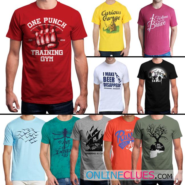 London Looks Men's 10 Round-Neck Cotton Stylish Printed T-Shirts!