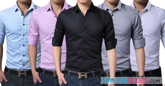 London Looks Men's Cotton Casual Slim-Fit 5 Solid Shirts!