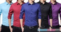 London Looks Men's 5 Cotton Casual Slim-Fit Solid Shirts !