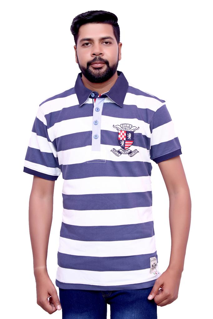 FILA Men's Multicolor Stripped Polo Neck T-shirt!