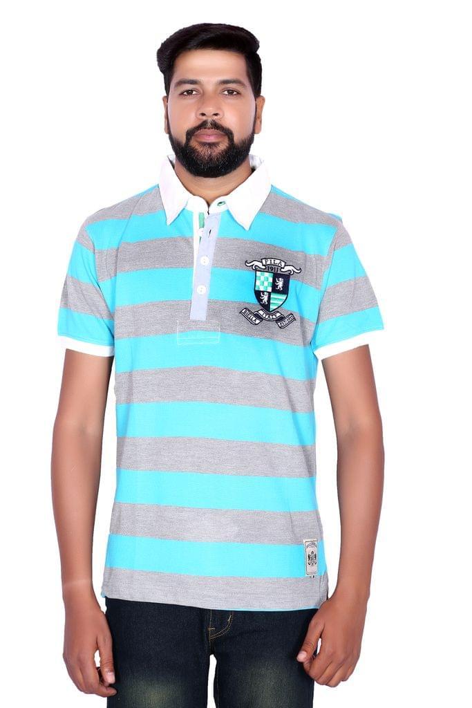FILA Men's Multicolor Strip Polo Neck T-shirt !
