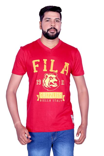FILA Men's Red V-Neck Half Sleeve T-shirt!