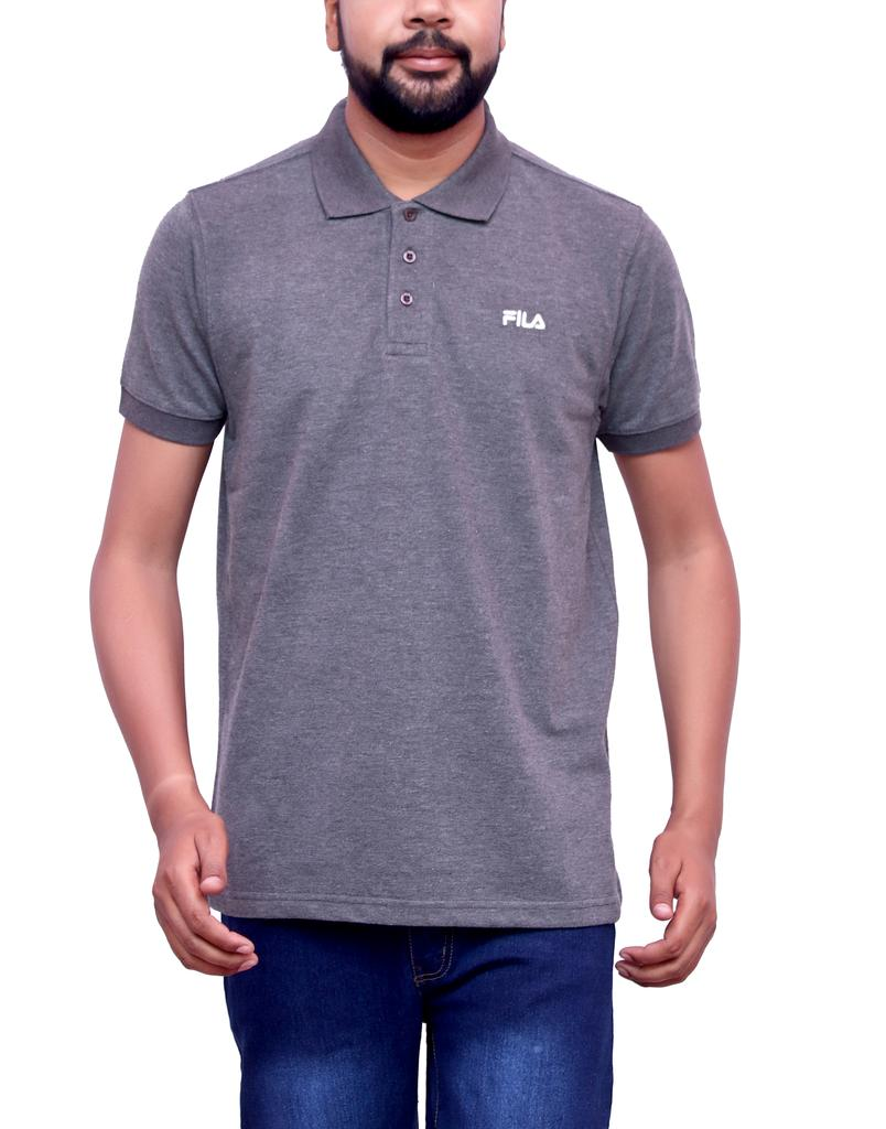 FILA Men's Grey Half Sleeve Polo T-shirt!