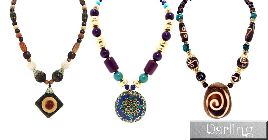 Darling Brand Combo Of 3 colorfull Funky Style Stone Necklace Set!