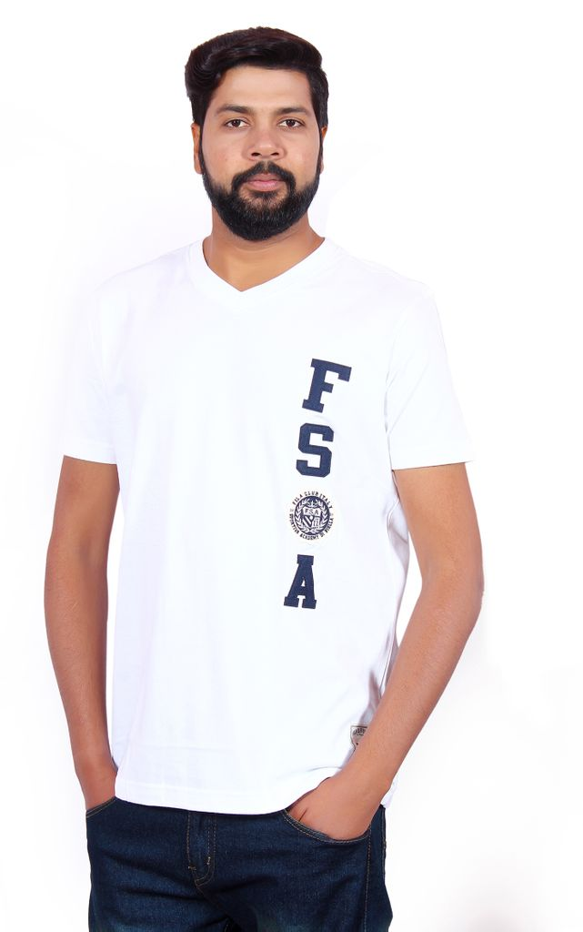 Fila Men's V-Neck White T-Shirt !