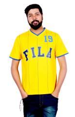 Fila Men's V-NeckYellow T-Shirt !