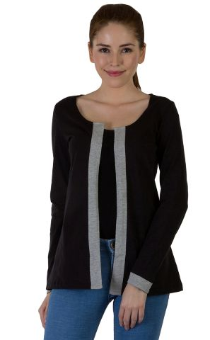 Rigo Black Solid Shrug