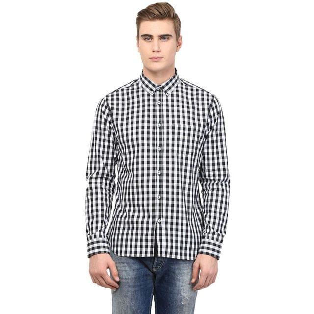 White and Black Gingham Check Shirt