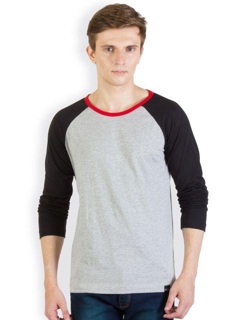 RIGO Grey Tshirt black  Raglan with Red Neck