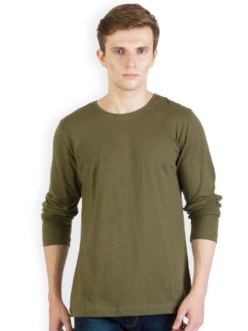 Solid Army Green Slim fit T shirt
