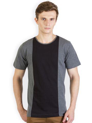 RIGO Charcoal T shirt Black Panel T shirt