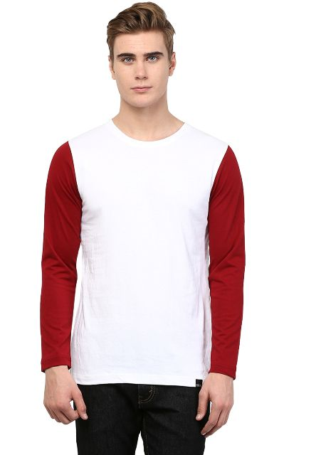 White T shirt Maroon Sleeve