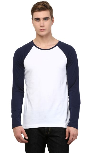 RIGO White T shirt Navy Raglan