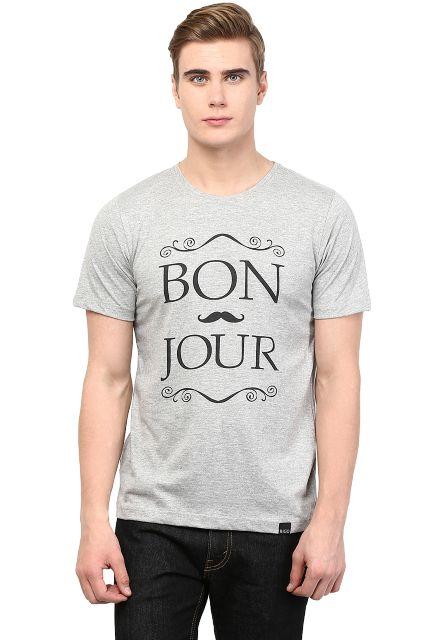 RIGO Grey Melange Bonjour Printed Tee Short